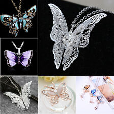 Crystal Butterfly Rhinestone Charm Pendant Necklace Beauty Sweater Chain Jewelry