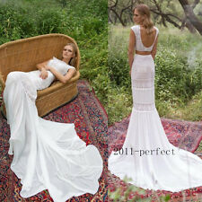 Boho 2 Piece Beach Wedding Dresses Lace Mermaid Backless Bridal Gowns Custom New