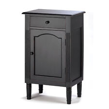 Black Wood Cabinet with Drawer Nightstand End Table Storage