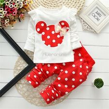Cute Toddler Girl Kid Clothes Top Pants Outfit Set Minnie Mouse Casual Trousers