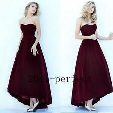 Classy Burgundy Evening Dresses Strapless Formal Prom Dress Gown Custom 2017 New