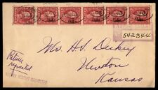 Chicago IL to Newton Kansas 1920 Registered Cover Return Receipt Requested