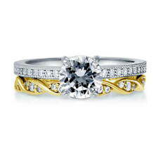 BERRICLE Sterling Silver Round CZ Solitaire Engagement Ring Set 1.385 Carat