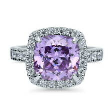 BERRICLE Sterling Silver Cushion Purple CZ Halo Fashion Right Hand Cocktail Ring
