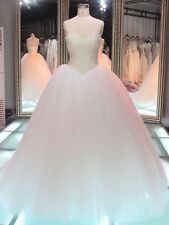 Luxury Pearls Top Wedding Dresses White Ivory Strapless Bridal Ball Gowns Custom