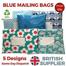 BLUE Post Postal Plastic Mailing Bags Postage Coloured - Polka Dot Floral Stars