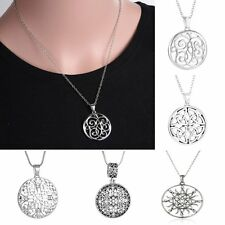 Vintage Round Silver Tone Hollow Out Flower Crystal Pendant Necklace Women Gifts