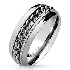 Stainless Steel Spinning Chain Center Grooved Stripes Ring Size 7-14
