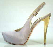 new $595 R & RENZI GIANMARCO LORENZI light grey platforms gold heel shoes - SEXY
