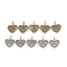 50 Pcs Tibetan Silver Bronze Filigree Heart Charms Pendants DIY Jewelry Making B
