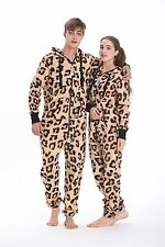 Leopard Print  All In One Piece Jumpsuit Hoodies Fleece Romper Unisex Playsuit
