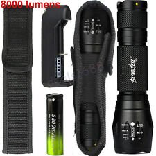 8000LM CREE XML T6 Tactical LED Flashlight Zoom Torch Lamp+18650 Battery+Charger