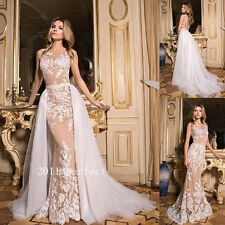 2017 New Lace Applique Wedding Dresses With Detachable Train Bridal Gowns Custom