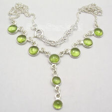 "925 Sterling Silver Natural PERIDOT ART Necklace JEWELRY 17 7/8"" FACTORY DIRECT"