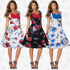 Women's V-Neck Vintage Style 1950's Retro Rockabilly Evening Party Swing Dresses