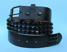 Studded 3 Row Black Skate Leather Look Snap on Belt