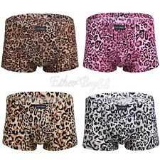 Men's Boxer Briefs Low Rise Sexy Leopard Underwear Man Shorts Smooth Underpants