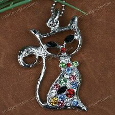 1x Silver Plated Rhinestone Crystal Miss Cat Bead Pendant FIT Necklace Jewelry