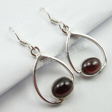 925 Solid Silver ASTONISHING Earrings Pair 3.5 CM, Original RED GARNET Gem GIFT