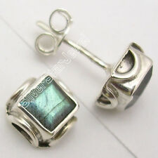 925 Sterling Silver Rare BLUE FIRE LABRADORITE ANTIQUE STYLE Stud Earrings .7 CM