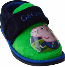 Boys NEW Size 4 - 9 Blue Green PEPPA PIG GEORGE Velcro Slippers