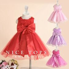 Reds Christmas Wedding Party Flowers Girls Dresses AGE SIZE 2 3 4 5 6 7 8 9 10Y