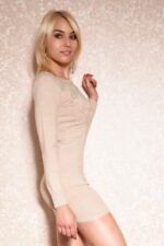 Sexy Langarm Mini Dress Knit Pullover Long Studs gold Colour selection