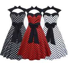 Womens Bandeau Sweetheart Neckline Polka Dot Vintage Retro 50s 60s Pin Up Dress