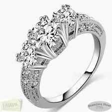 Trilogy Stainless Steel Silver Ring with Swarovski Crystals Size M N O P Q  R S