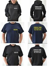 Custom Printed Business T-Shirts and Hoodies Printed With Company Details
