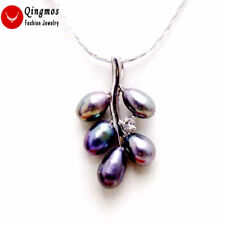 """6-7mm Black Rice Pearl &18*28mm Grape Pendant free 17"""" Silver plated Chain-n6234"""