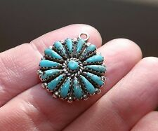 "STERLING SILVER Navajo Old Pawn Petit Point TURQUOISE Pendant by ""F.M. BEGAY"""