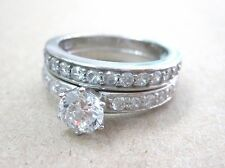 925 STERLING SILVER 6 Prong Round 6mm CZ BRIDAL SET Engagement & Wedding RINGS