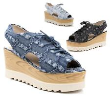 WOMENS LADIES CHUNKY WEDGE DENIM CLEATED SOLE GLADIATOR OPEN TOE SANDALS SHOES
