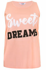 "Yoursclothing Plus Size Womens Peach ""sweet Dreams"" Sleeveless Pyjama Top"