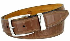 """Triple Stitched Alligator Embossed Casual Leather Belt 1-1/2"""" Wide Coffee Brown"""