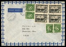 Finland to United Staets 1947 Airmail cover 2 Color Franking