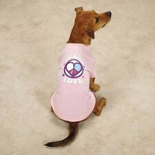 Dog Puppy Tee Shirt - Casual Canine - Peace & Love - Pink XXS