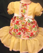 DREAM BABY SPANISH LEMON FLORAL DRESS NEWBORN UP TO AGE 2 YEARS OR  REBORN DOLL
