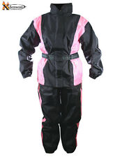 Xelement Ladies 2 Piece Black and Pink Motorcycle Rain suit
