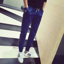 Men's Pant Stylish Straight Slim Fit Trousers Solid Color Casual Beam Foot Pants