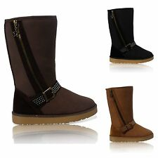 WOMENS FLAT FAUX FUR LINED BUCKLE SNUGG WINTER ZIP LADIES ANKLE BOOTS SHOES 3-8