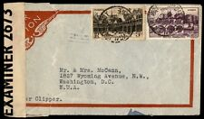 France WWII Censored Clipper airmail 1940s Cover Examier 2673