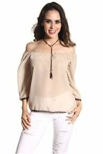 DEALZONE Trendy Sexy Off Shoulder Top S M L Small Medium Large Women Beige