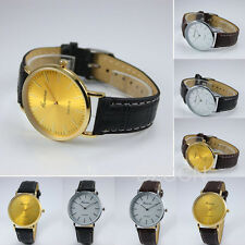 Womens Geneva Watch Analog Gold & White Case Leather Band Quartz Men Wrist Watch