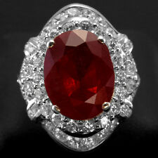 100% GENUINE ! TOP BLOOD RED RUBY & SAPPHIRE REAL 925 STERLING SILVER RING