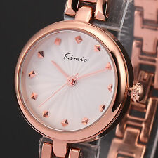 Kimio Ladies Women Rose Gold Alloy Bracelet Quartz Elegant Slim Wrist Watch