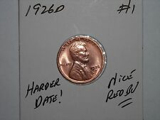 wheat penny 1926D LINCOLN CENT NICE RED BU DETAILS 1926-D SHARP RED UNC LOT #1