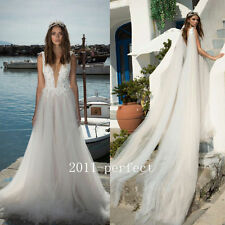 2017 New Plunging Wedding Dresses White Ivory Lace Bridal Gown Long Train Custom