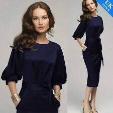 Ladies Puff Sleeve Business Office Work Wear Party Solid Bodycon Pencil Dresses